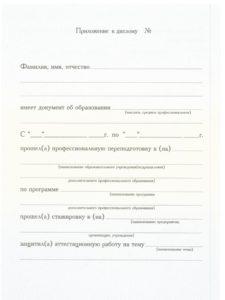 Бланк приложения к диплому о переподготовке НОЧУ ДПО «ИППиП» отделение Танцевально-двигательной психотерапии